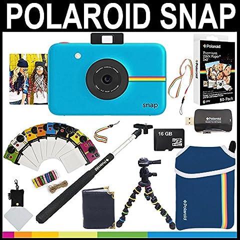 Polaroid Snap Instant Camera (Blue) + 2x3 Zink Paper (50 Pack) + Neoprene Pouch + Selfie Pole + Photo Frames + Photo Album + 16GB Memory Card + Accessory Bundle