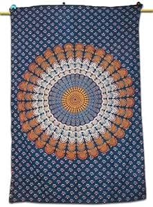 Tableau Handicrunch Mandala Bleu Tapisserie Wall Art Runner Cotton Throw Couvre-poison indienne