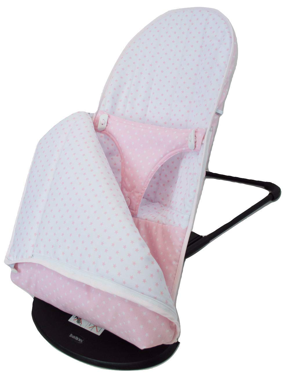 Baby Bouncer Cover and Footmuff for BabyBjörn Balance and Soft Personalized with Embroidered Name. Several Models Available (Stars Pink) Borda y más Upholstery for totally replacing the original Babybjörn baby bouncer upholstery. It consists of FOOTMUFF and COVER. Compatible with Babybjörn Balance and Babybjörn Balance Soft. Made in natural soft and breathable pique, without chemical substances perfect for your baby as it reduces your baby's skin irritation or reaction. With our footmuff changeable into cover you will keep your baby war in the coldest days at the same time you provide your baby bouncer a new image. You only need to fit together the cover and the upholstery by the zippers and velcro system. The footmuff adjustable to 3 different positions. You won't need to worry about the blanket again; your baby will be able to play and sleep without being cold. Design: Made in pink pique with white stars combined with white pique and pink stars. 100% made in Spain with the best finishes and qualities. It can be easily removed and wash in the washing machine, programmes lower than 30 degrees and using organic or neutral soap. 2