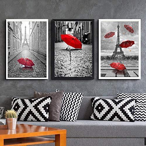 jjshily Leinwand Gemälde Wand Kunstdrucke Wohnkultur Wohnzimmer Poster 3 Stück Schwarz Weiß Eiffelturm Mit Roter Regenschirm Bilder, 40X60