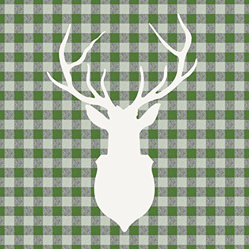 ambiente-servietten-lunch-party-ca-33x33cm-deer-outline-green-hirsch-grn