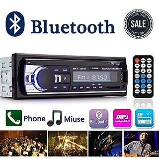 Autoradio,Rixow Autoradio mit Bluetooth Fernbedienung Freisprechanlage,FM In-Dash Radio,MP3-Player,USB Anschluss und SD Kartenslot,Aux-Eingang
