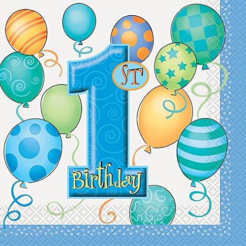 Blau Luftballons 1. Geburtstag Papier Servietten, 16Stück (Papier Geburtstag Party Servietten)