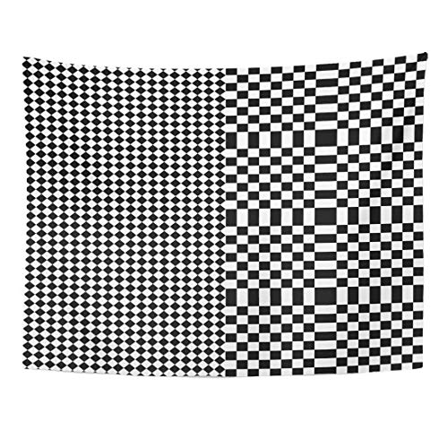 Tapestry Angular Design with Black White Squares and Rhombuses Optical Alternating Parallel Tartan...