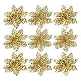 Gosear 12pz Glitter Poinsettia Xmas Natale Albero Ornamenti Decorazione 15cm Oro