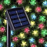 50 Mehrfarbigen LED Blume Solarlichterketten - Solarbetriebene Wasserfest Solar Garten Lichterketten - Solarlampen mit Eingebaut Nacht Sensor, Kette und Erdspieß - Solarleuchten für Außen, Zaun, Terrasse, Hof, Fußweg, Einfahrt, Draußen, Wand, Garage, Schuppen, Gehweg, Dekoration, Ornamente und Boden von SPV Lights: Der Solarlicht- & Beleuchtungsspezialist (2 Jahre kostenlose Gewährleistung inklusive)