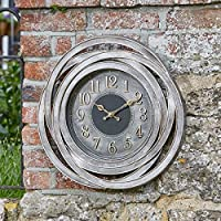 Garden Mile® Large Vintage Modern Retro Style Garden Indoor/Outdoor Wall Clock Decorative Fence Ornament Mountable Weatherproof Weather Station Thermometer Home/Garden