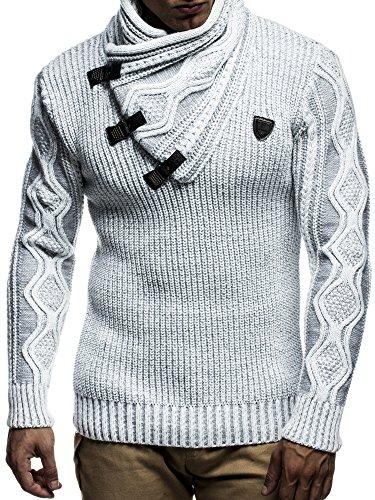 LEIF NELSON Herren Pullover Hoodie Strickpullover Sweater Sweatshirt Sweatjacke Grobstrick LN5195; Gr_¤e M, Ecru-Grau