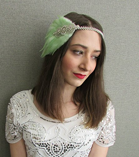 Vert Menthe Argent Serre-tête bibi avec plume bandeau Vintage 1920 Flapper P47 * * * * * * * * exclusivement vendu par – Beauté * * * * * * * *