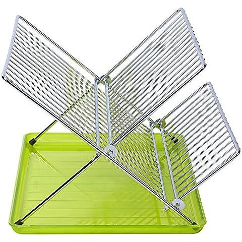 Sauvic 91040 - Escurreplatos Plegable inoxidable Verde, color Acero inoxidable Y Verde,36,5 x 26 x 22 cm