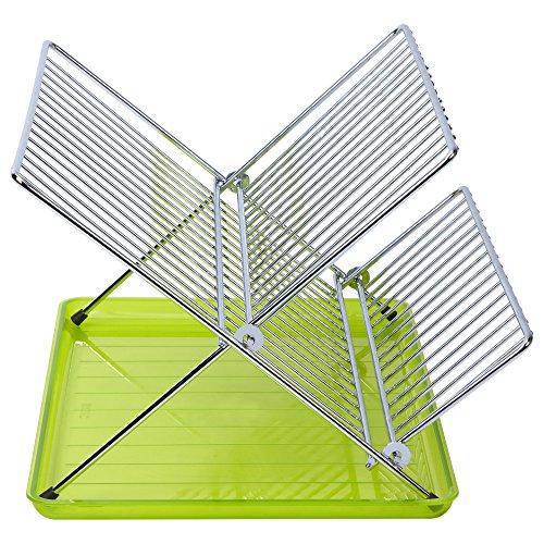 Sauvic ESCURREPLATOS Plegable, Acero Inoxidable y Verde, 36.5x26x22 cm