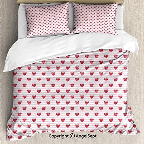 Soefipok Quilt-Set 3-teilig mit 2 Kissenbezügen, süßes, mädchenhaftes Muster mit leckeren Früchten auf dunkelrosa, hellem Seafoam-Baby-Rosa-Weiß-Streifen (Seafoam Baby Bettwäsche)