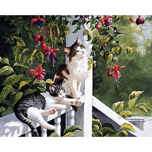 Huijun DIY Digital Leinwand-Ölgemälde Geschenk für Erwachsene Kinder Malen Nach Zahlen Kits Home Haus Dekor - Nette Katzen 40*50cm(Frameless)