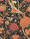 Journal: Bright Orange and Red Vintage Art Nouveau Flower Print | 150 College-ruled P...