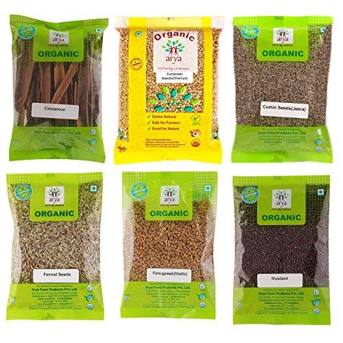 Arya Farm 100% Certified Organic Whole Spice Combo Pack – Cinnamon 50g, Dhaniya, Jeera, Saunf, Methi, Mustard (100g)