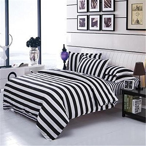 KekeHouse 4 teilige Bettwäsche Set Aloe Baumwolle bettbezug 150cm x 200cm Streifen schwarz weiß für Doppelbett mit kissenbezüge