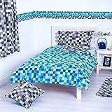 Pixels Design Reversible Bedding Single Duvet Cover Set Bed Linen - Blue / Grey