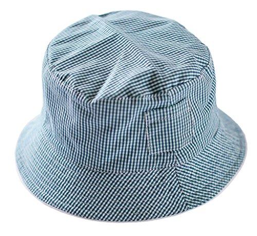 6f2396bc7c2b Bigood Chapeau de Soleil Bébé Enfant Coton Plage Pêche Camping Carreaux Eté  Tour de Tête 50cm