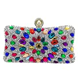 GODW Damas Bolso De Embrague Color Diamante De Imitación Piedras Preciosas Bolsa De Noche Fiesta Prom Bolso De Banquete Monedero,Silver-20 * 6 * 10cm