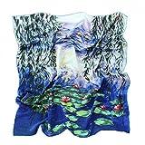 Prettystern - Handrolliert Seidentuch 90 Cm Kunstmotiv Seerosen Blau-türkis Tuch Monet 100% Seide P050