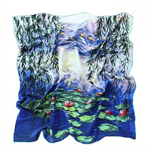 Prettystern Prettystern - Handrolliert Seidentuch 90 Cm Kunstmotiv Seerosen Blau-türkis Tuch Monet 100% Seide P050