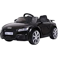 HOMCOM Compatible for 6V Rechargeable Battery Ride On Car w/ Remote Forward Reverse Lights Horn MP3 Player Black w/ Seat Belt Audi TT RS