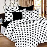 #10: Casa Basic 100% Cotton 144TC Double Bedsheet With 2 Pillow Cover- Black & White