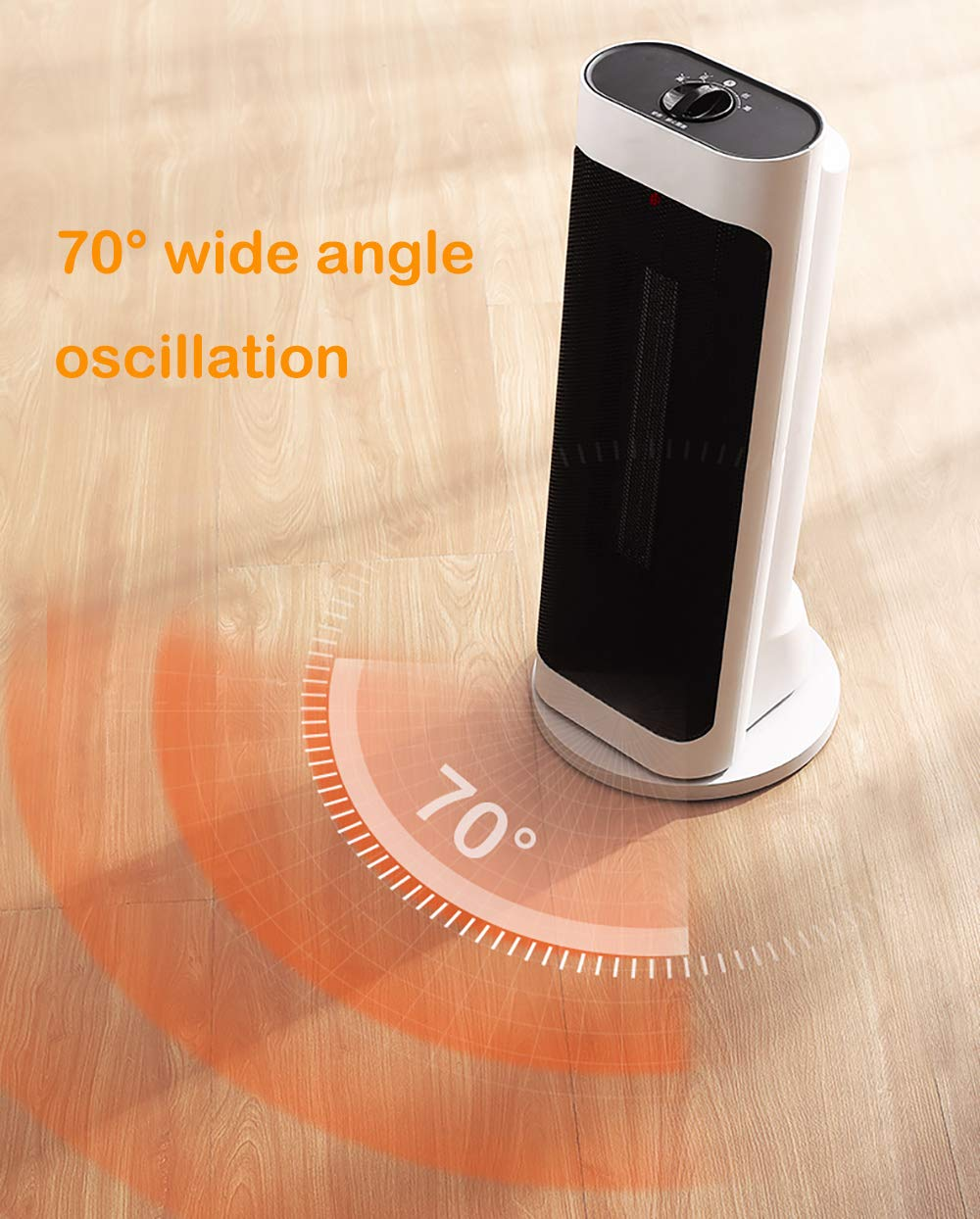 LANLAU Calentador, Ventilador De Calentador Personal Eléctrico con Oscilación Automática, Viento Cálido/Frío para… 5