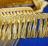 Mosel Avenue Art & Gobelin Studio Luxus Exklusive Borten Metallisiertes Zierband Fransen Dekoband Lurex-Gold 50 mm breit