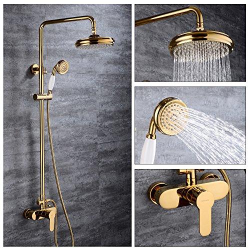 BONADE Retro Gold Duschset Duschsystem Duscharmatur mit Höhenverstellbar Duschstange Round Überkopfbrause Regendusche Shower Set