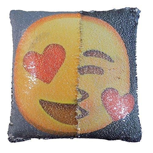 """gefüllt Herz Kuss Emoji Pailette Kippen gelb grau rotes Kissen 17 """" - 43cm"""
