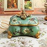American vintage jewelry box rurale scatola di gioielli in ceramica di fiore vaso di stoccaggio comò camera da letto scatola di immagazzinaggio decorazione