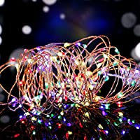 Salcar Coloré LED Guirlande Lumineuse Noël 10M / 33 Ft 100 Diodes à l'intérieur du Fil de Cuivre Micro, Chaine de Lampe Décorative pour Jardin Maison Fête Party Mariage Anniversaire (RGB)