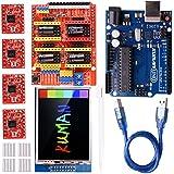 Kuman Módulo de expansión Arduino CNC shield V3.0 + Arduino UNO R3 + pantalla táctil de 2.8 pulgadas TFT + 4 controladores de motor paso a paso A4988 con disipadores de calor K75-1