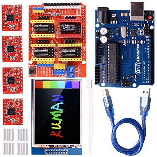 Kuman CNC Engraver Shield Expansion Board V3.0 + UNO R3 Board for Arduino+ 2.8 inch TFT Touch Screen + 4pcs A4988 Stepper Motor Driver With Heatsink Kits for Arduino GRBL K75-1
