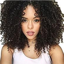 maycaur negro Color sintético Pelucas 180 densidad Kinky rizado pelucas de cabello natural ...