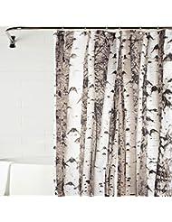 Versión de diseño de cortina de ducha con troncos de abedul