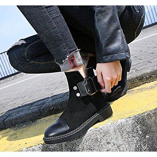 HSXZ Scarpe donna vera pelle Nubuck Pelle Autunno Inverno la moda Stivali Stivali tacco basso Mid-Calf scarponi per Nero Casual Black