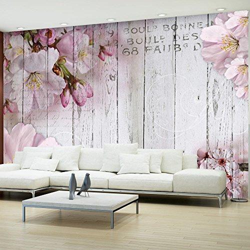 murando - Fototapete Blumen 400x280 cm - Vlies Tapete - Moderne Wanddeko - Design Tapete - Wandtapete - Wand Dekoration - Blume rosa pink Holz Bretter b-A-0202-a-b
