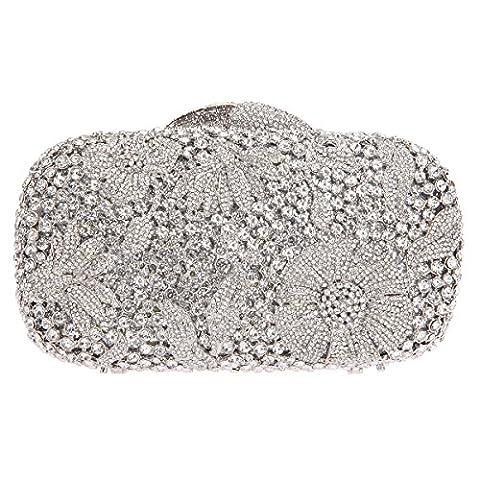 Bonjanvye Bling Studded Flower Evening Purse Cocktail Crystal Evening Clutch Bags Silver