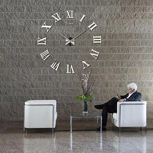 Design Wand Uhr DIY Große Wanduhr 3D Effekt Home Wandtattoo Dekoration Abnehmbarer Geräuschfrei (BGM0016, Silber)