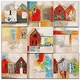 Arte dal Mondo AS345X1 Casas Pintura moderno realizada a mano y montada sobre bastidor grueso
