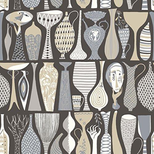 Stig Lindberg 1758 Vliestapete verschiedene Vasen in grau, beige, graublau und weiß auf mattschwarz