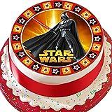 vorgeschnittenen Essbarer Zuckerguss Cake Topper, 19,1cm rund Star Wars Darth mit Star Bordüre