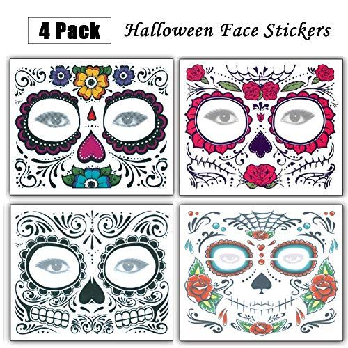 Temporäre Gesicht Tattoo Rose Design, 4pcs Weihnachtsgeschenke Halloween Face Tattoo Aufkleber, Tattoos Sugar Skull Aufkleber Tag der Toten Make-up für Weihnachten Maskerade Party