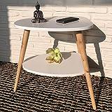 Beistelltisch Nachttisch Couchtisch Konsolentisch 50 x 40 x 55 cm im skandinavischen Retro-Design weiß natur mit 2 Ablagen