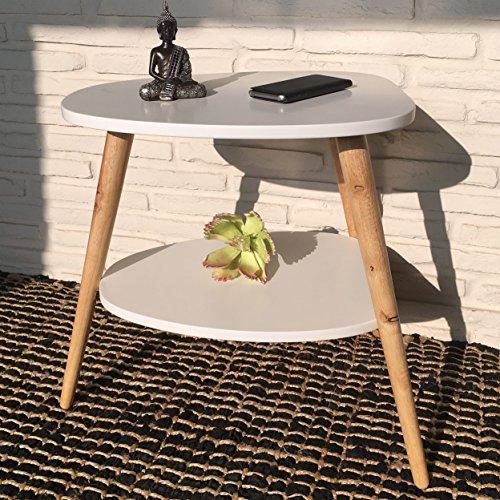 Wholesaler GmbH Beistelltisch Nachttisch Couchtisch Konsolentisch 50 x 40 x 55 cm im skandinavischen Retro-Design weiß Natur mit 2 Ablagen