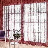 Etosell Schal Fenster, Türen, Vorhänge Voile-Volant, Sheer Wellenvorhang, Textil, weinrot, 1M/39.4