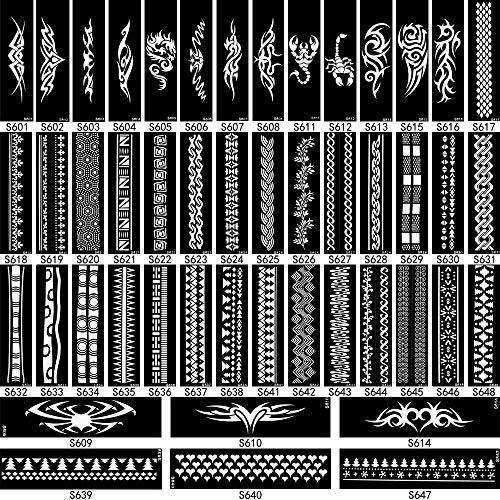 Der Mädchen Drachen Mit Tattoo Kostüm - MRKAL Design Henna Tattoo Schablone Streifen Armband Kette Design Für Frauen Körperkunst Wasserdichte Schmuck Henna Stencil Temporäre 6,2X20 cm 4Ps