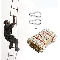 Ridecle Feuerleiter Fluchtleiter Kletterleiter aus Holz Nylon Strickleiter f¨¹r Kinder und Erwachsene Fenster Balkon…